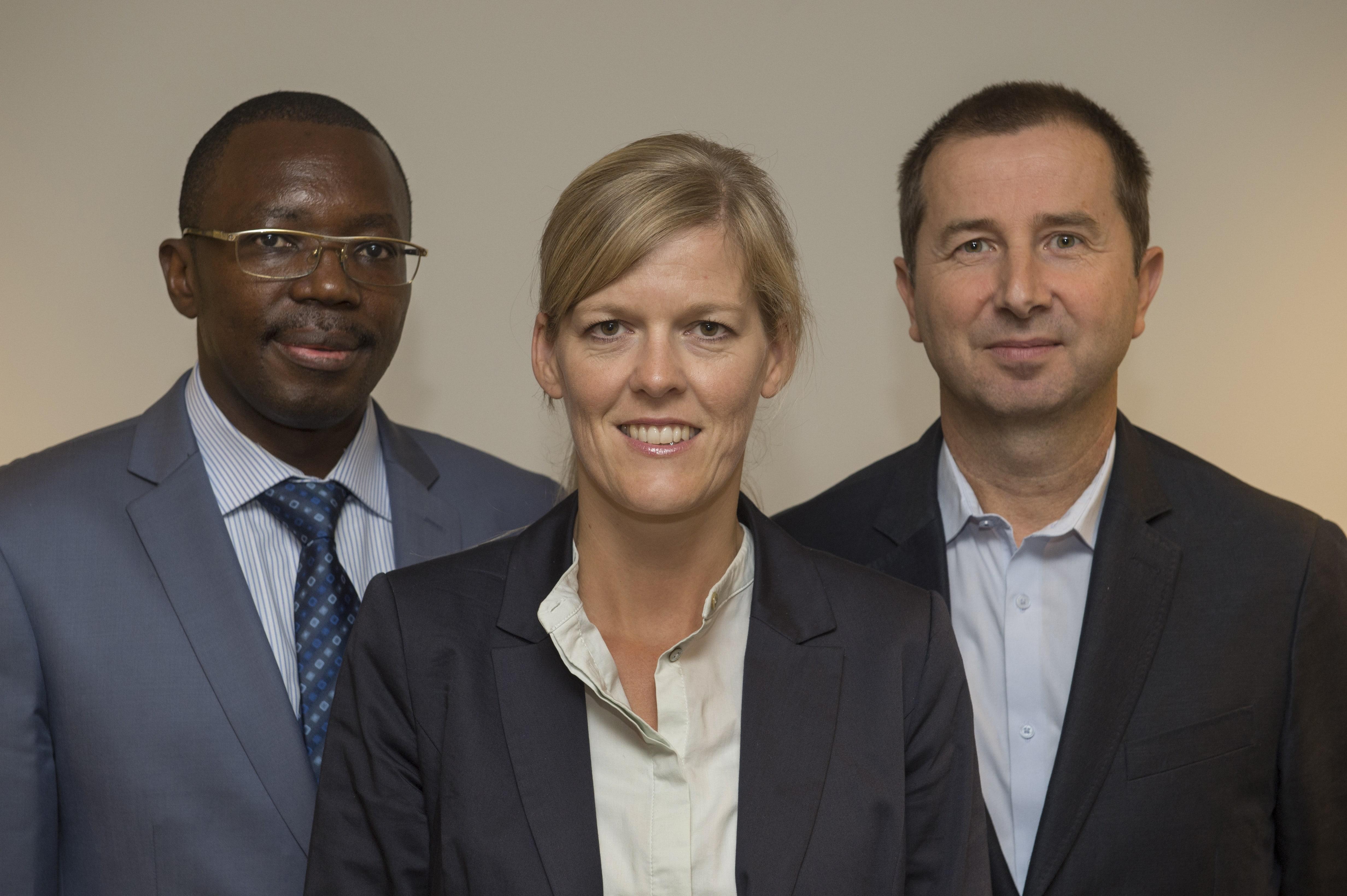 De gauche à droite: Frédéric KALALA, Claudia HUBER, Pierre DAUBERT